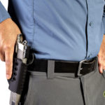 Citizen with a pistol in a holster.